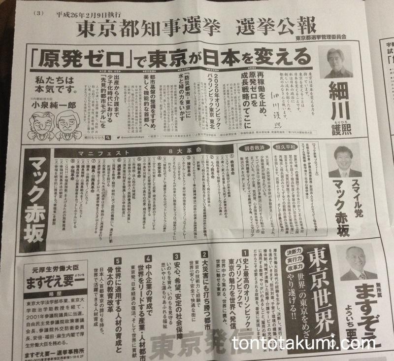 東京都知事選挙選挙公報 3面