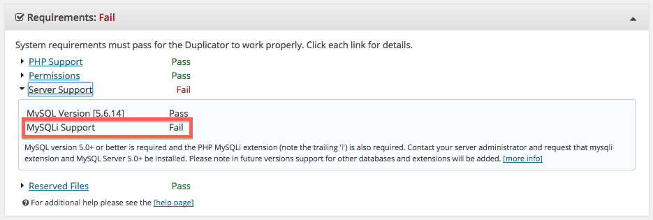 MySQLi Support fail