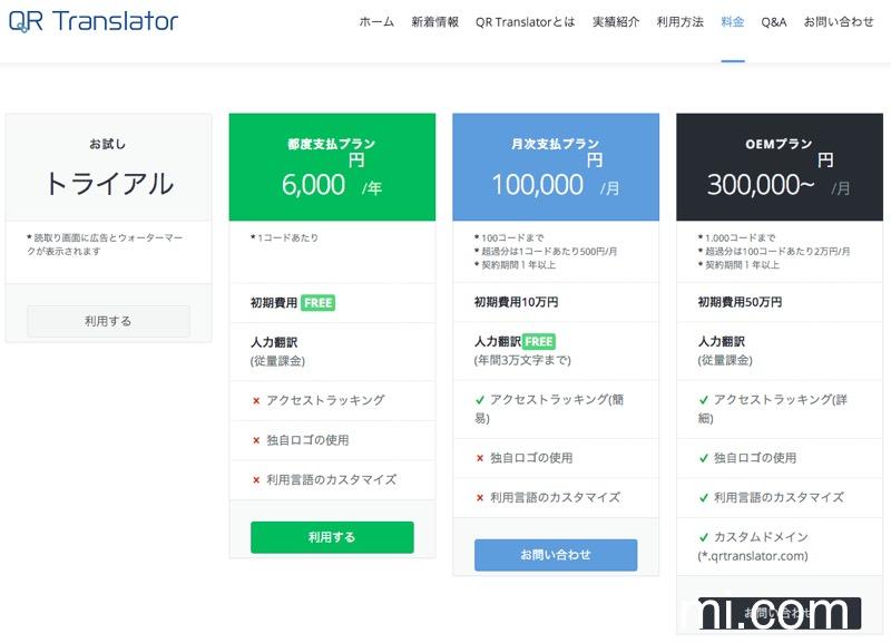 「QR Translator」の利用料金